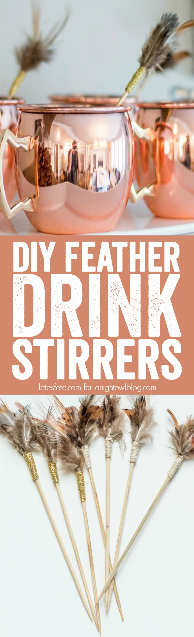 Add a little flair to your holiday cocktails this season with these fabulous DIY Feather Drink Stirrers!