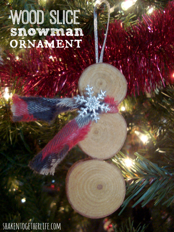 Wood Slice Snowman Ornament from Shaken Together